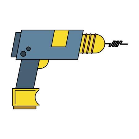 carpentry and constrution tool equipment drill cartoon vector illustration graphic design