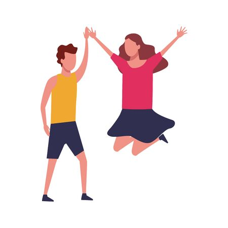avatar happy man and woman jumping over white background, colorful design. vector illustration 向量圖像
