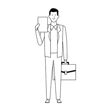cartoon businessman standing and holding documents icon over white background, flat design. vector illustration Banque d'images - 138555203