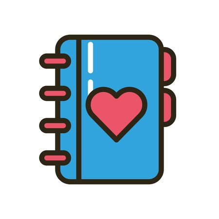 happy valentines day heart in diary vector illustration design Ilustrace