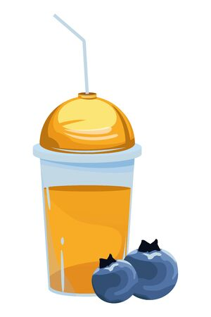 tropical fruit and smoothie drink with bluberries icon cartoon vector illustration graphic design 向量圖像