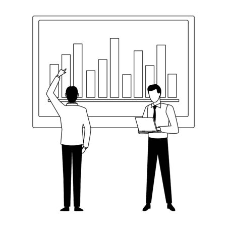 two businessmen avatar character with big data chart bar diagram icon cartoon in black and white vector illustration graphic design