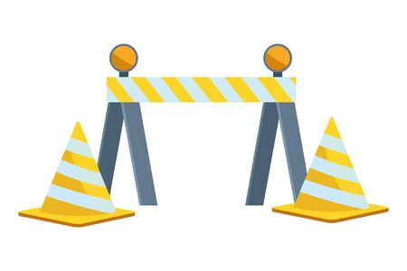 Construction tools and equipment barrier and traffic cone cartoons vector illustration graphic design.