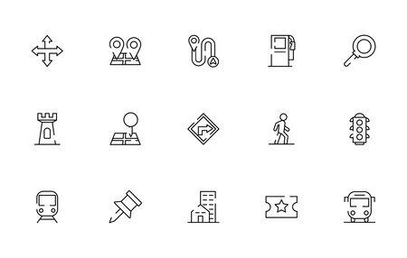 bundle of maps and navigation icons vector illustration design