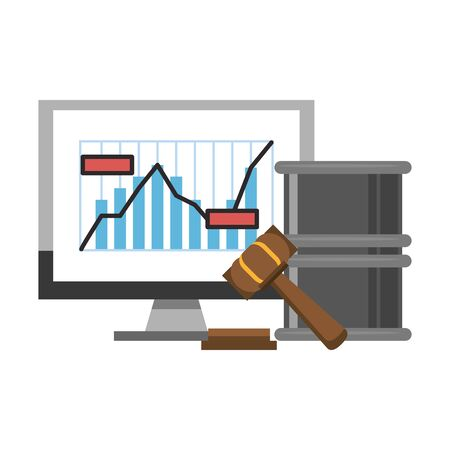Online stock market investment computer with graph and gavel with barrel symbols vector illustration