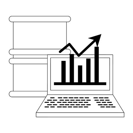 Online stock market investment petroleum barrel and laptop with statistics symbols in black and white vector illustration