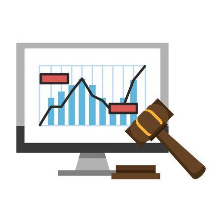 Online stock market investment statistics graph and gavel symbols vector illustration