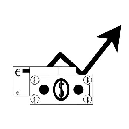 Euro and dollar currency growing symbol in black and white vector illustration