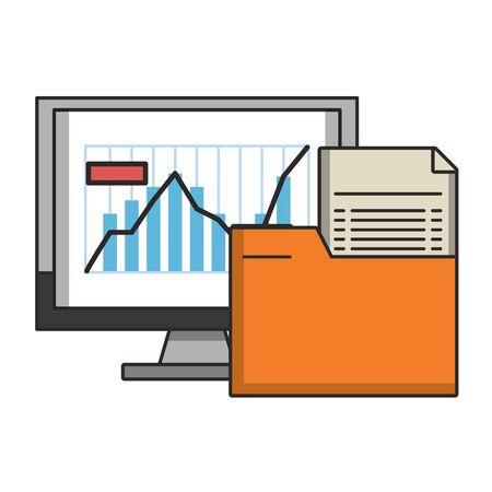 Online stock market investment computer and folder symbols vector illustration
