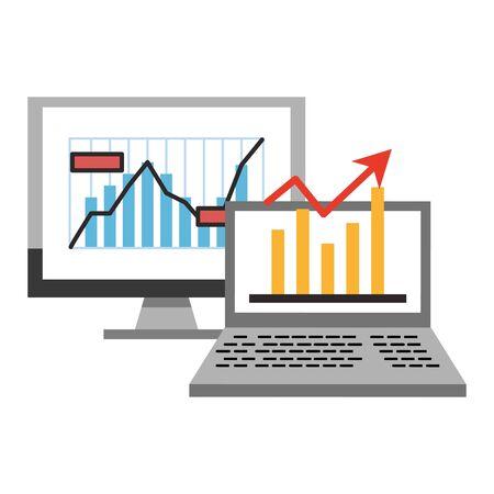 Online stock market investment computer with statistics symbols vector illustration