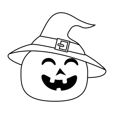 halloween pumpkin with witch hat vector illustration design