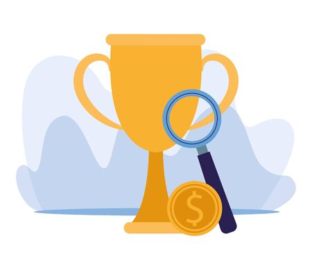 big trophy cup with magnifying glass and money coin over white background, colorful design, vector illustration