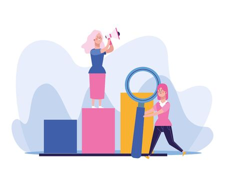 happy woman using a megaphone standing on chart bar graph and woman holding a big magnifying glass over white background, colorful design, vector illustration