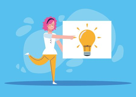 cartoon woman pointing a board with bulb over blue background, colorful design, vector illustration Ilustração