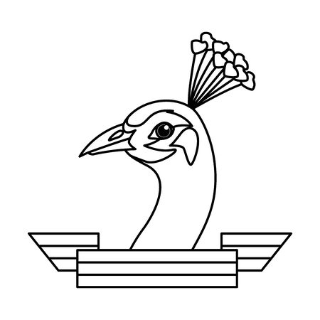 peacock bird with ribbon icon cartoon isolated in black and white vector illustration graphic design