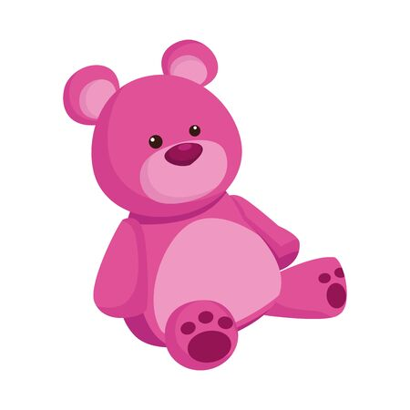 cute teddy bear icon over white background, colorful design. vector illustration