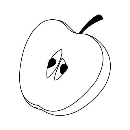 half apple icon over white background, vector illustration