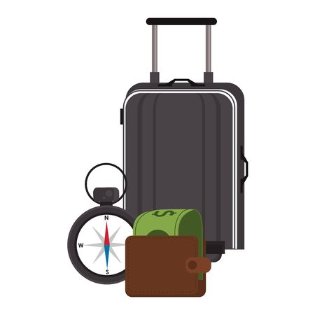 Travel vacations and summer luggage wallet with money and navigation compass cartoons vector illustration 일러스트