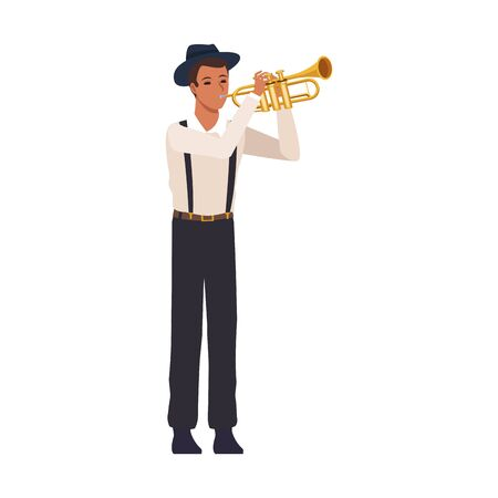 cartoon man playing trumpet over white background, colorful design. vector illustration