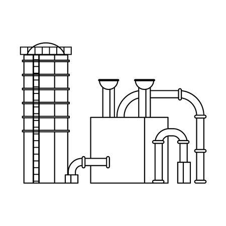 oil refinery gas factory industry petrochemical petroleum plant pipeline and destillation tank cartoon vector illustration graphic design Ilustracje wektorowe