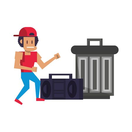 Retro videogame pixelated gangter and radio with trash can cartoons isolated vector illustration graphic design