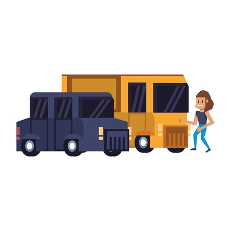 Retro videogame pixelated van and bus with woman cartoons isolated vector illustration graphic design Ilustrace