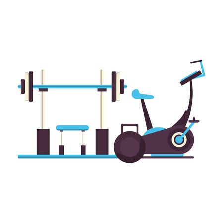 fitness equipment workout health and weights,stationary bicycle isolated symbols vector illustration graphic design