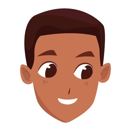 Young afro man face smiling cartoon isolated vector illustration graphic design.