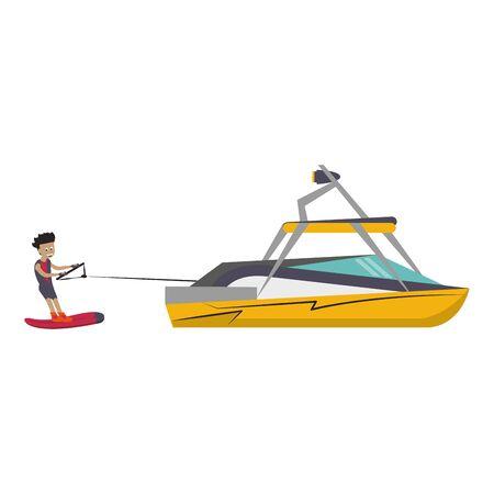 Hombre joven de entrenamiento de wakeboard con diseño gráfico de ilustración de vector de barco