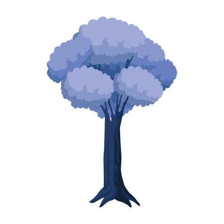 blue tree icon over white background, vector illustration