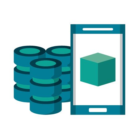 Smartphone with cube on screen and servers disks vector illustration graphic design