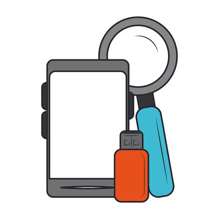 smartphone with usb and magnifying glass over white background, vector illustration