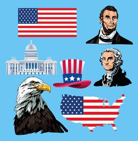 happy presidents day poster with set icons vector illustration design Illusztráció
