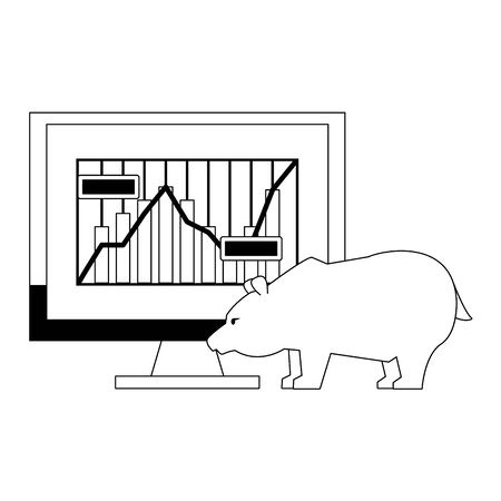 Online stock market investment computer with bear symbols in black and white vector illustration