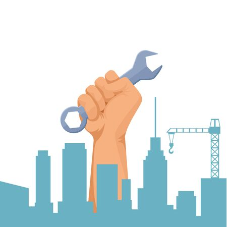 Construction worker hand holding wrench tool on cityscape silhouette vector illustration graphic design.