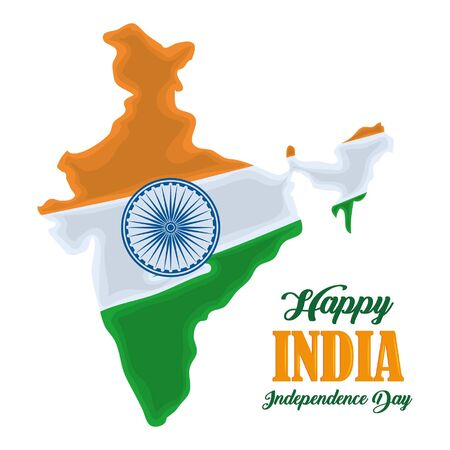 India independence day card with patriotic monuments and emblems, poster holiday vector illustration graphic Illusztráció