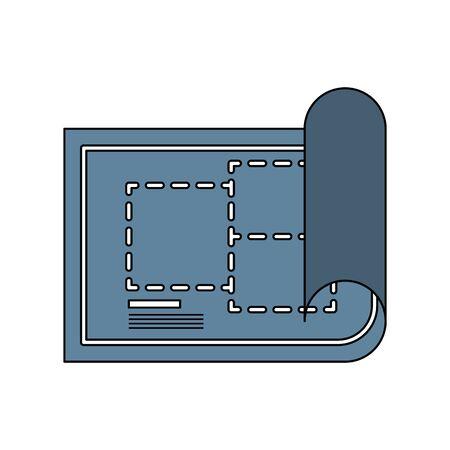 construction architectural project blueprint plan cartoon vector illustration graphic design Ilustrace