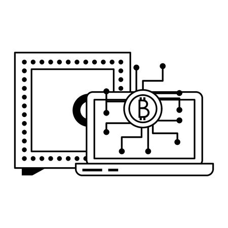 Bitcoin cryptocurrency laptop and strongbox symbols vector illustration graphic design