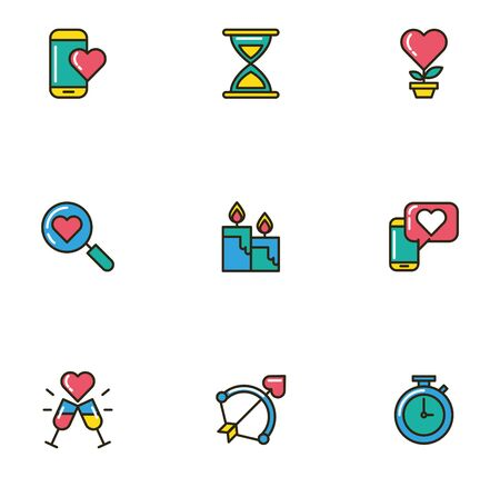 bundle of valentines day icons vector illustration design 向量圖像