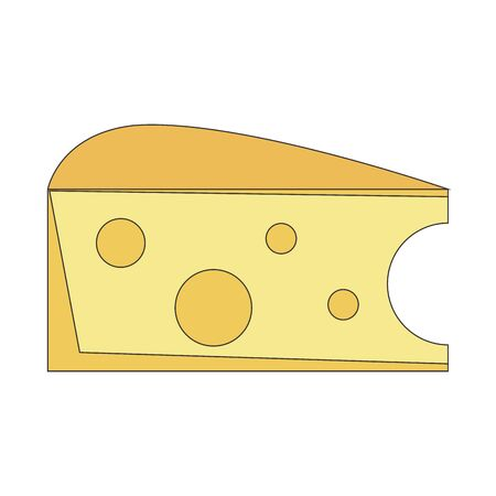 piece of cheese icon image over white background, colorful design. vector illustration