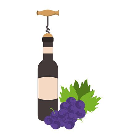 bunch of grapes with corckscrew and wine bottle over white background, vector illustration