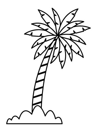 palm tree with bush icon cartoon in black and white vector illustration graphic design