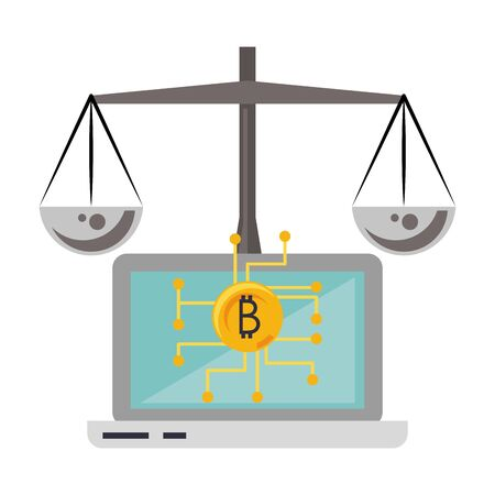 Bitcoin cryptocurrency laptop and balance symbols vector illustration graphic design