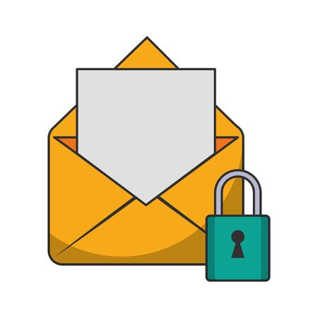 Email security padlock symbol vector illustration graphic design