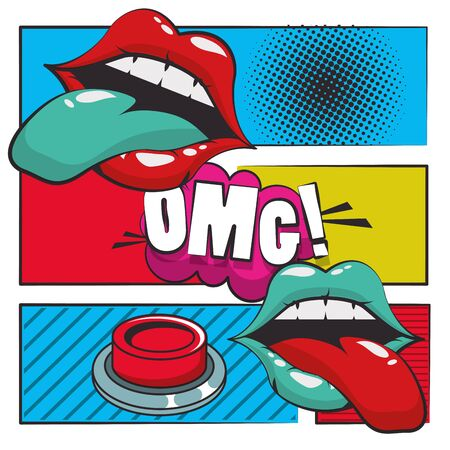 poster pop art style with female mouths vector illustration design Vectores