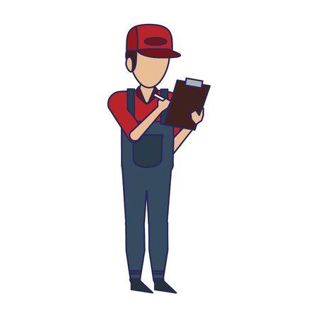Warehouse worker with clipboard avatar faceless vector illustration Illusztráció