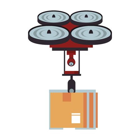 air drone remote control technology device delivery and logistic process with cardboard box cartoon vector illustration graphic design