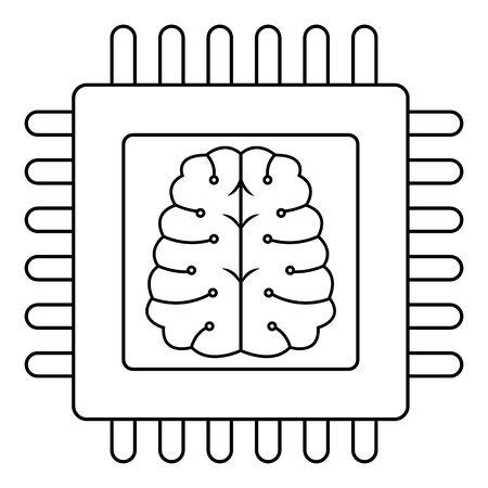 technology cpu motherboard chip computer brain cartoon vector illustration graphic design