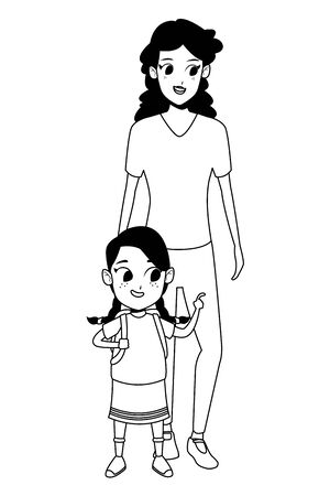Family single mother with daugther holding school backpack vector illustration graphic design Vectores