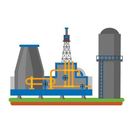 oil refinery gas factory industry petrochemical petroleum oil rig plant cartoon vector illustration graphic design Vektorové ilustrace